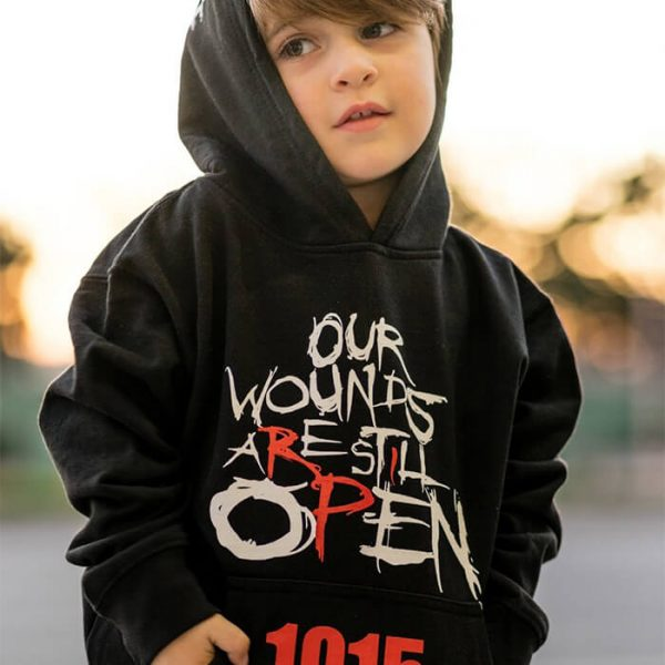 Our Wounds Are Still Open Kids Hoodie - available now in different sizes. Armenian Genocide clothes and gear available to order now: OpenWounds1915.com.
